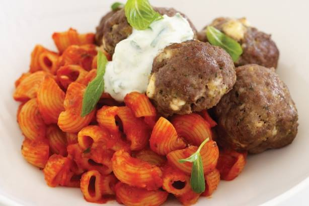 Meatballs with Pasta and Tzatziki